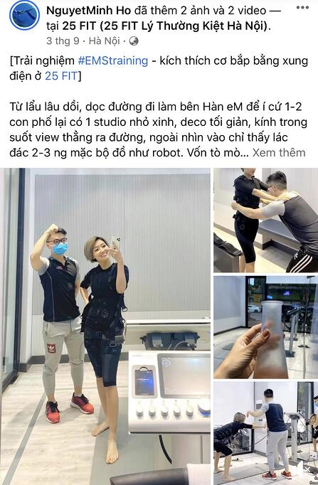 Chị Hồ Nguyệt Minh thích thú với công nghệ EMS từ những buổi tập đầu tiên
